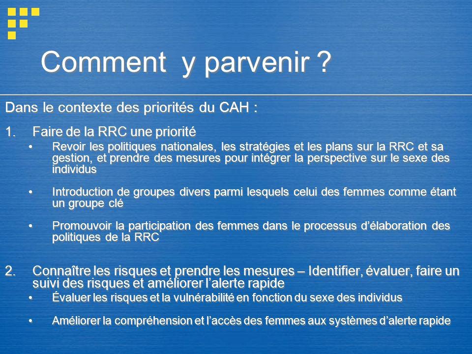 Comment y parvenir Dans le contexte des priorités du CAH :
