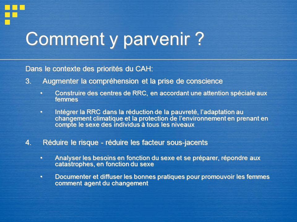 Comment y parvenir Dans le contexte des priorités du CAH: