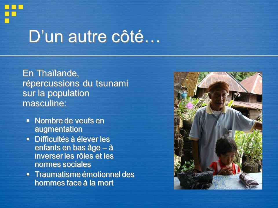 D'un autre côté… En Thaïlande, répercussions du tsunami sur la population masculine: Nombre de veufs en augmentation.