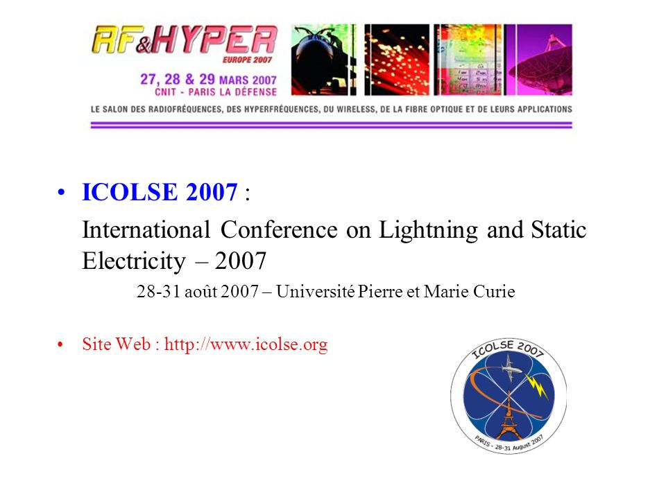 International Conference on Lightning and Static Electricity – 2007