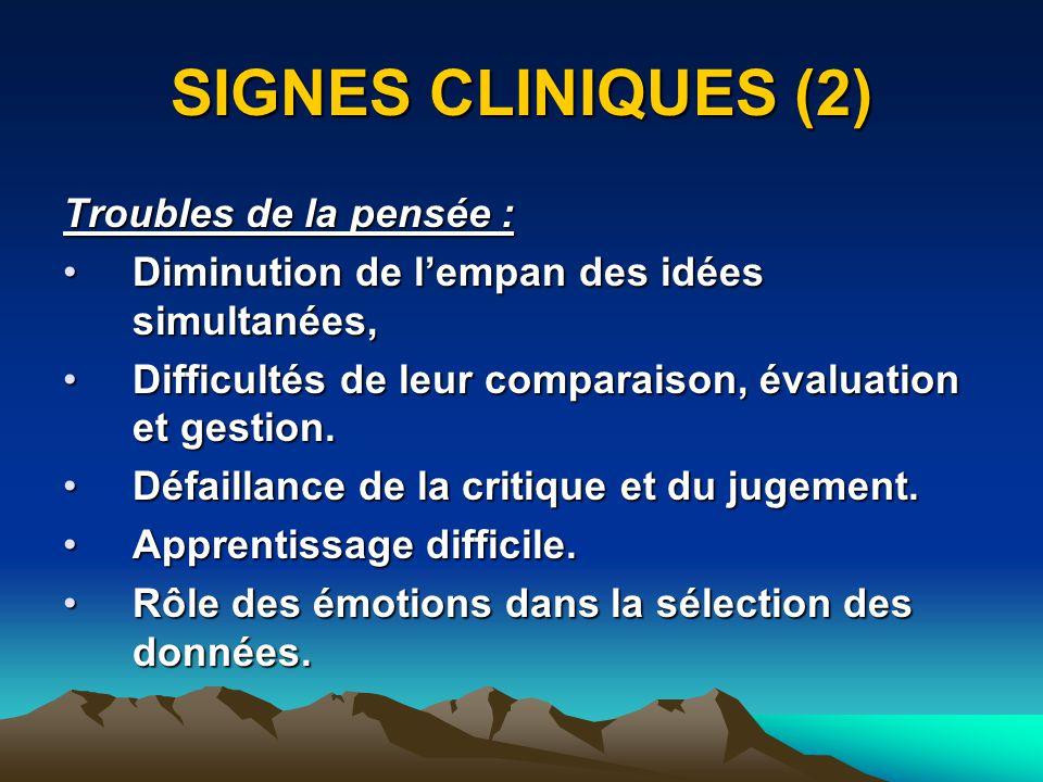 SIGNES CLINIQUES (2) Troubles de la pensée :