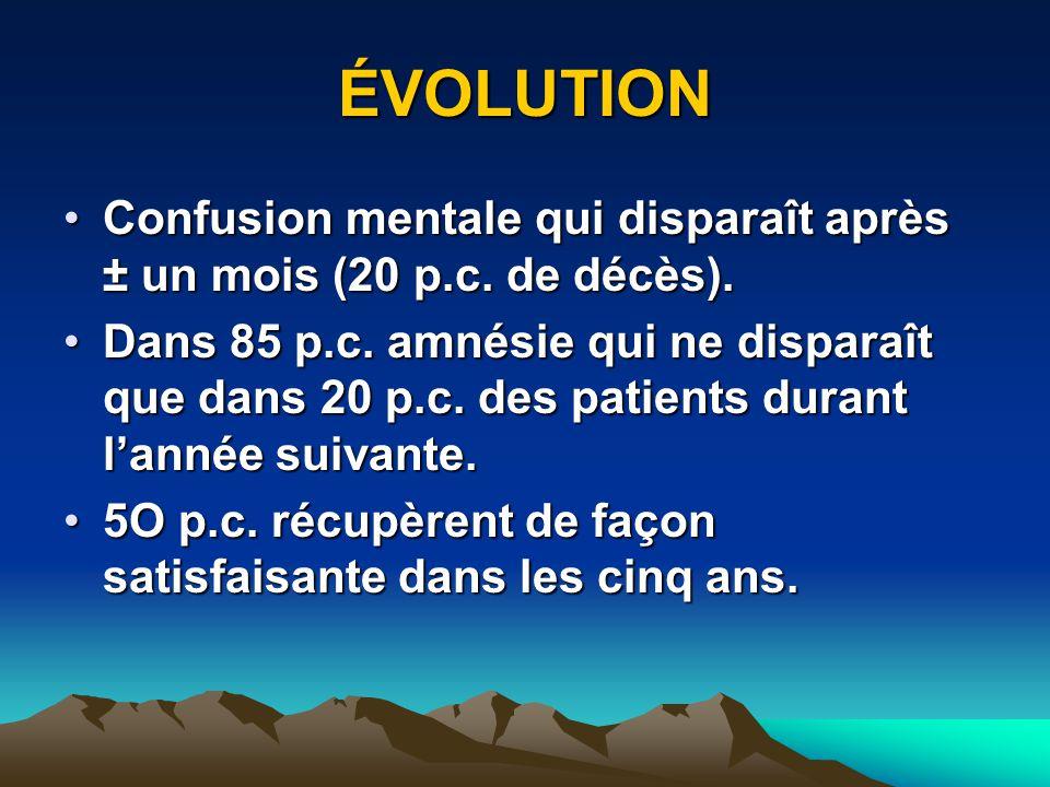 ÉVOLUTION Confusion mentale qui disparaît après ± un mois (20 p.c. de décès).