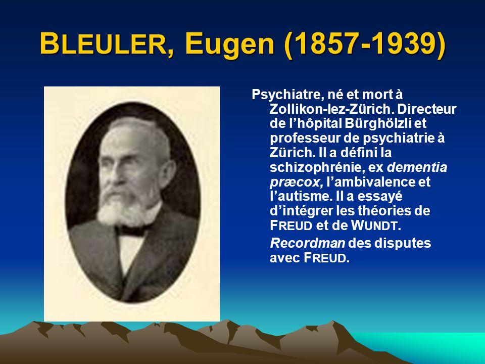 BLEULER, Eugen (1857-1939)