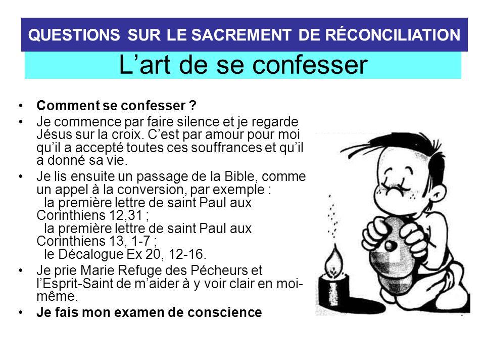 QUESTIONS SUR LE SACREMENT DE RÉCONCILIATION