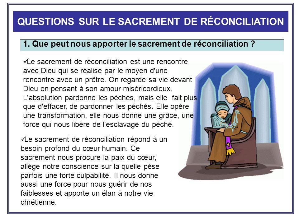 1. Que peut nous apporter le sacrement de réconciliation