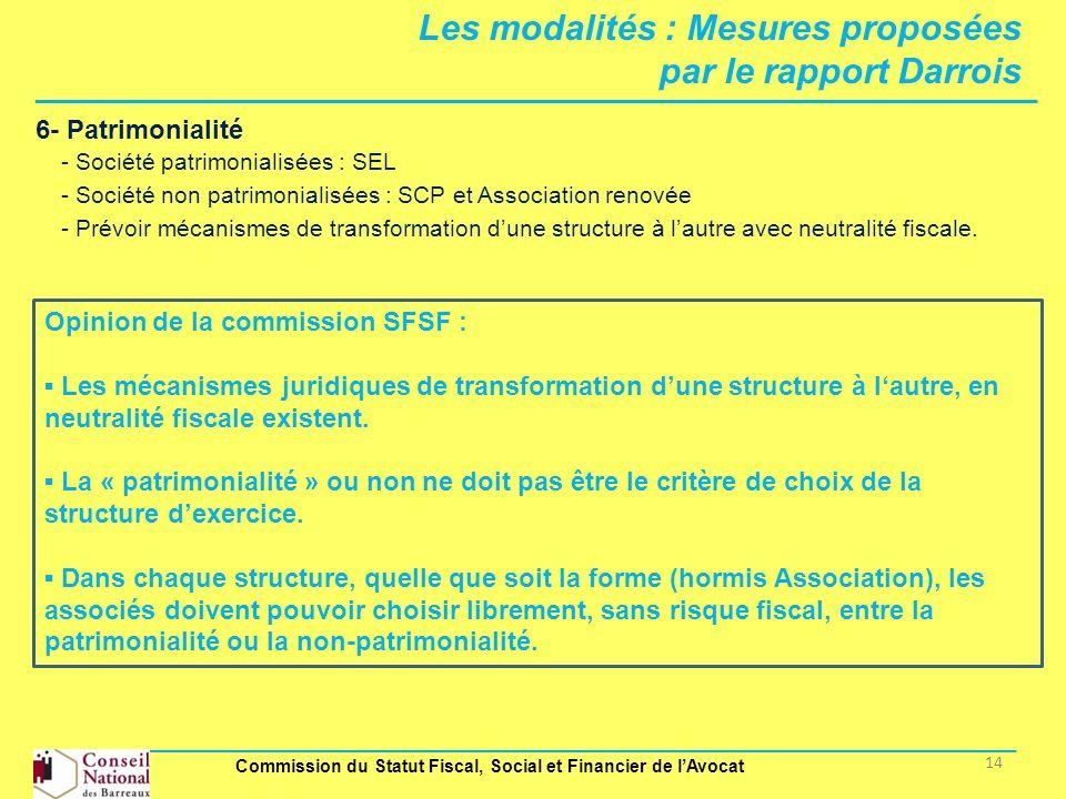 Les modalités : Mesures proposées par le rapport Darrois