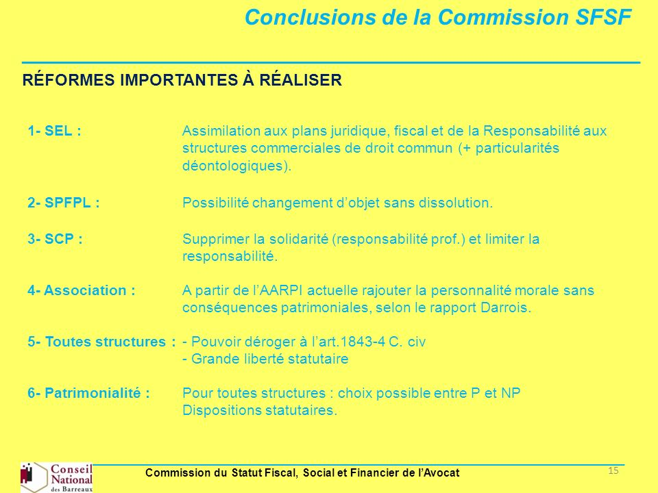 Conclusions de la Commission SFSF