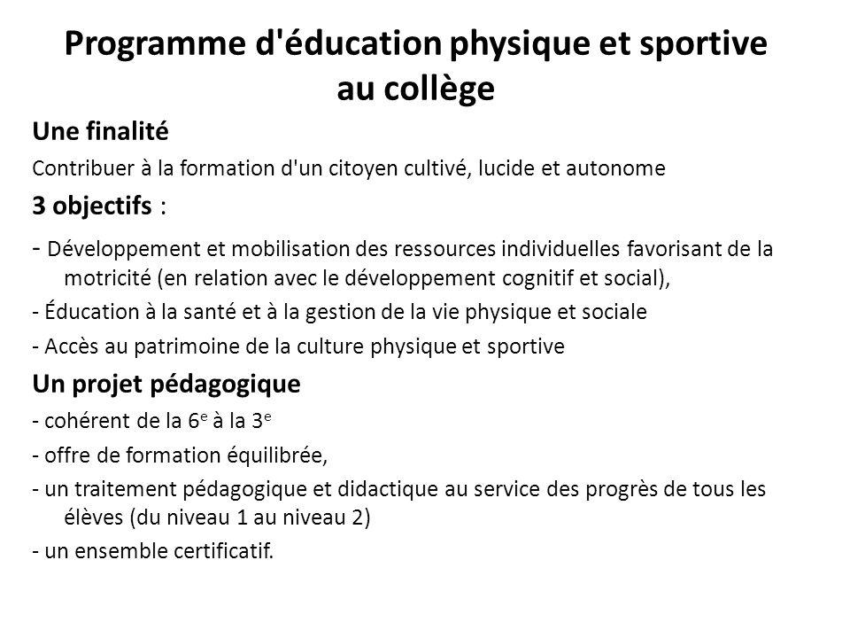 Programme d éducation physique et sportive au collège