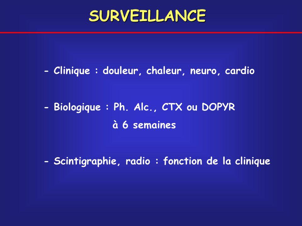 SURVEILLANCE - Clinique : douleur, chaleur, neuro, cardio