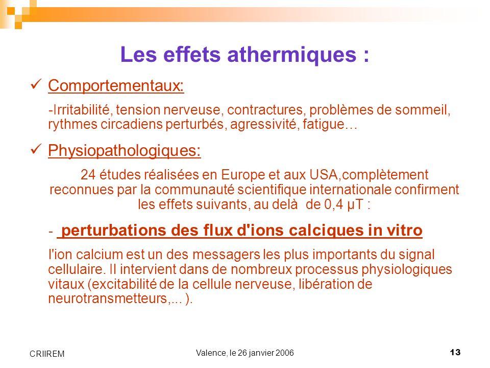 Les effets athermiques :