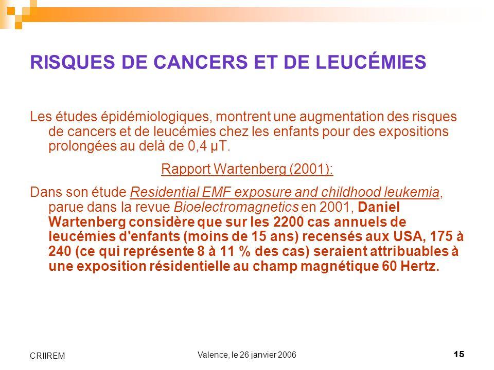 RISQUES DE CANCERS ET DE LEUCÉMIES
