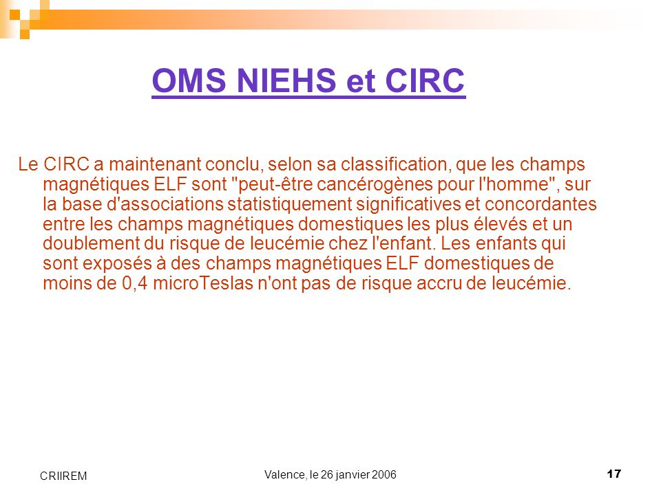 OMS NIEHS et CIRC
