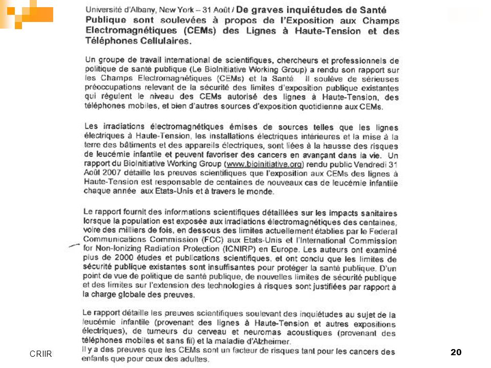 CRIIREM Valence, le 26 janvier 2006