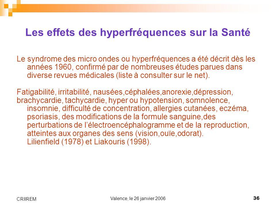 Les effets des hyperfréquences sur la Santé