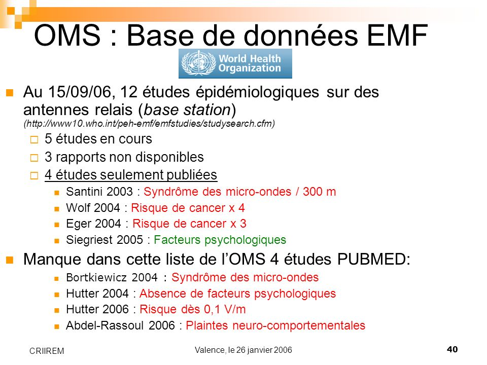 OMS : Base de données EMF