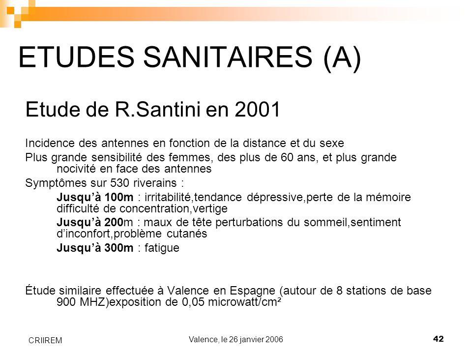 ETUDES SANITAIRES (A) Etude de R.Santini en 2001