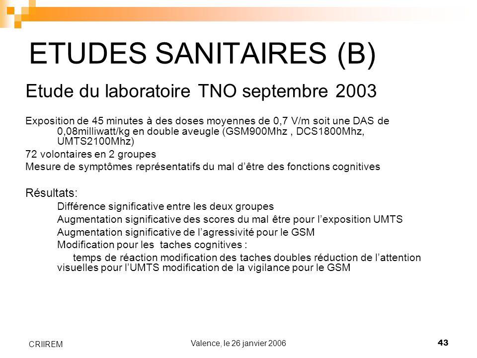 ETUDES SANITAIRES (B) Etude du laboratoire TNO septembre 2003