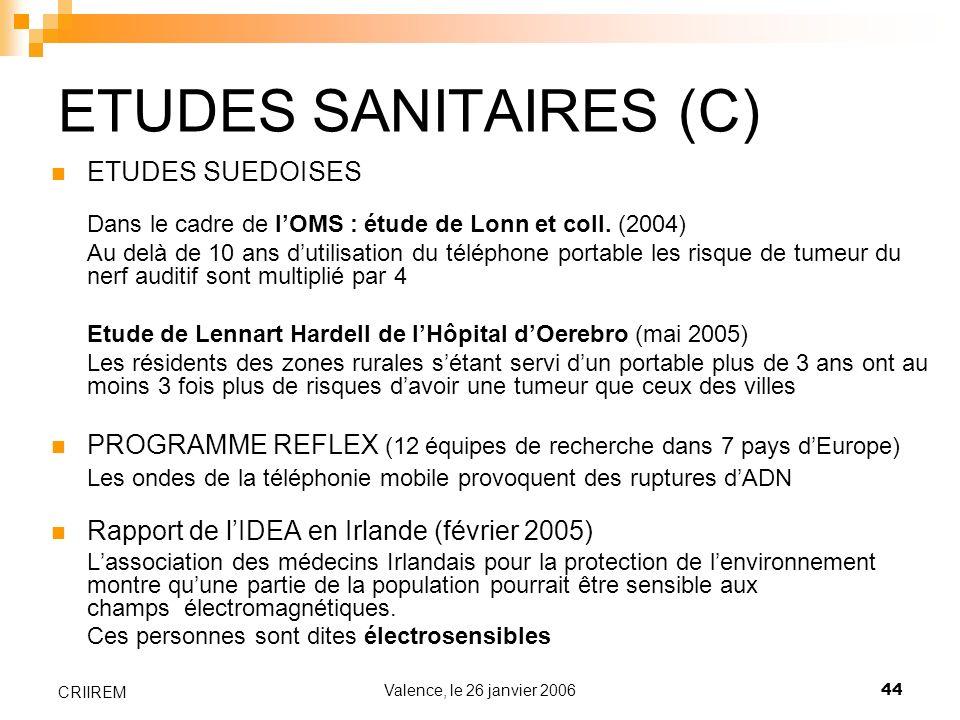 ETUDES SANITAIRES (C) ETUDES SUEDOISES