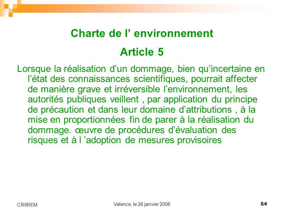 Charte de l' environnement