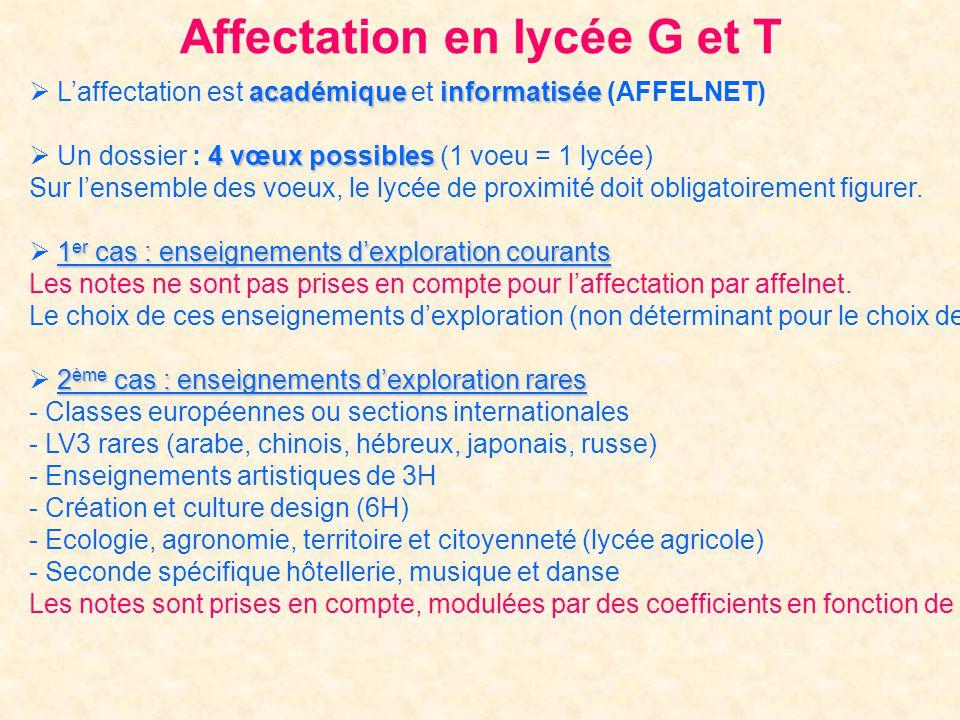 Affectation en lycée G et T