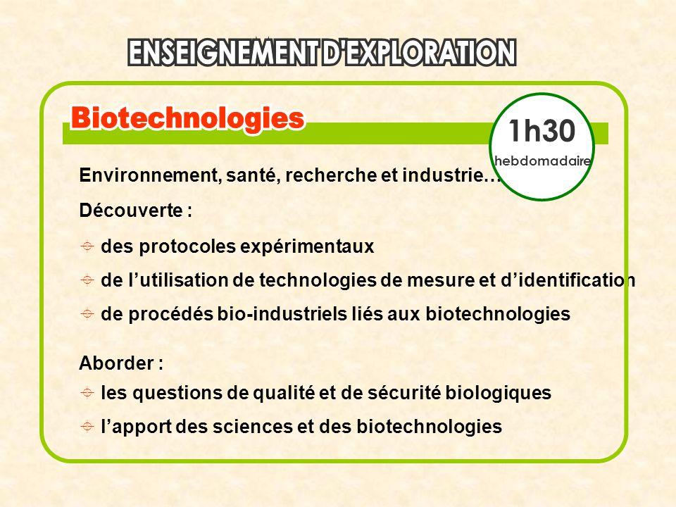 1h30 Environnement, santé, recherche et industrie… Découverte :