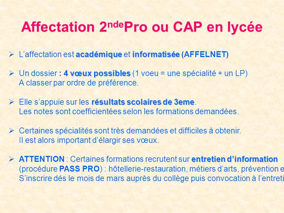 Affectation 2ndePro ou CAP en lycée