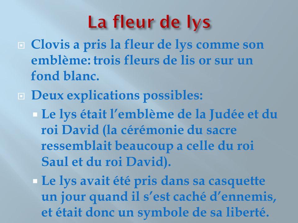 La fleur de lys Clovis a pris la fleur de lys comme son emblème: trois fleurs de lis or sur un fond blanc.