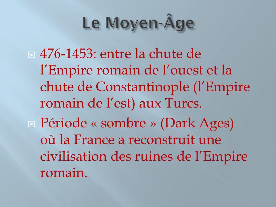 Le Moyen-Âge 476-1453: entre la chute de l'Empire romain de l'ouest et la chute de Constantinople (l'Empire romain de l'est) aux Turcs.