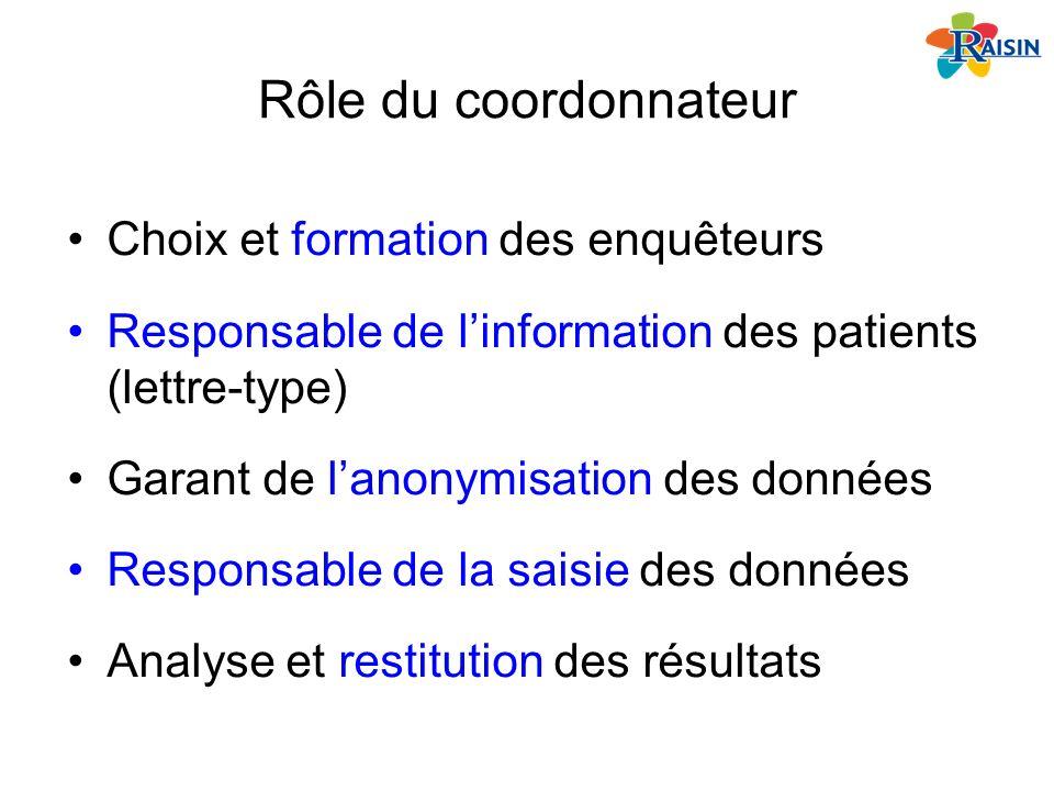 Rôle du coordonnateur Choix et formation des enquêteurs