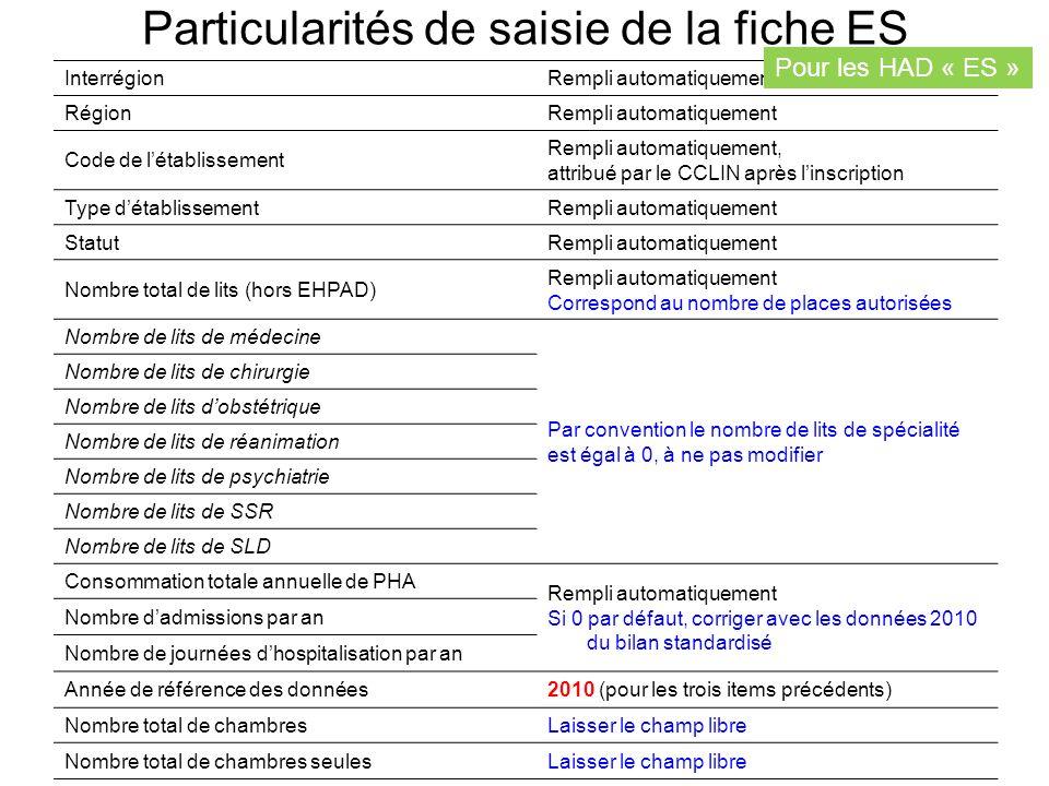 Particularités de saisie de la fiche ES
