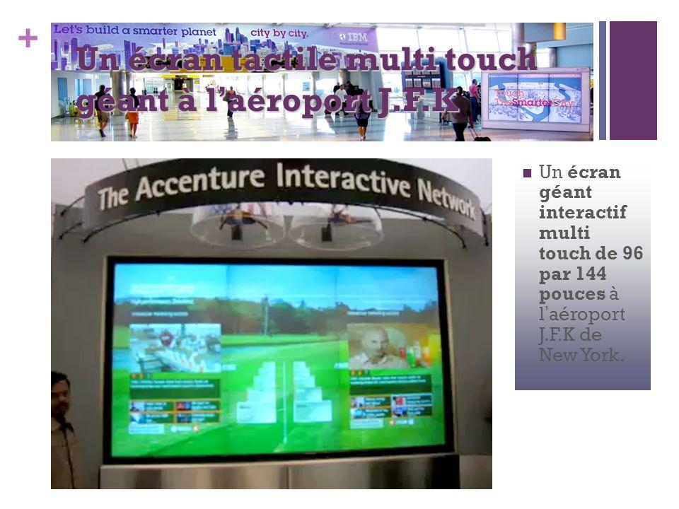 Un écran tactile multi touch géant à l'aéroport J.F.K