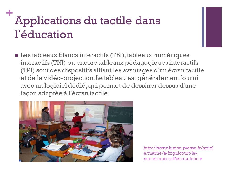 Applications du tactile dans l'éducation