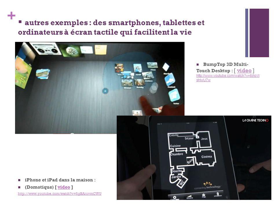 autres exemples : des smartphones, tablettes et ordinateurs à écran tactile qui facilitent la vie