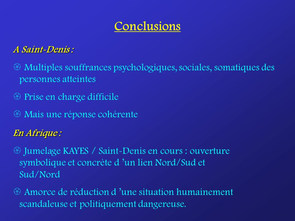 Conclusions A Saint-Denis :