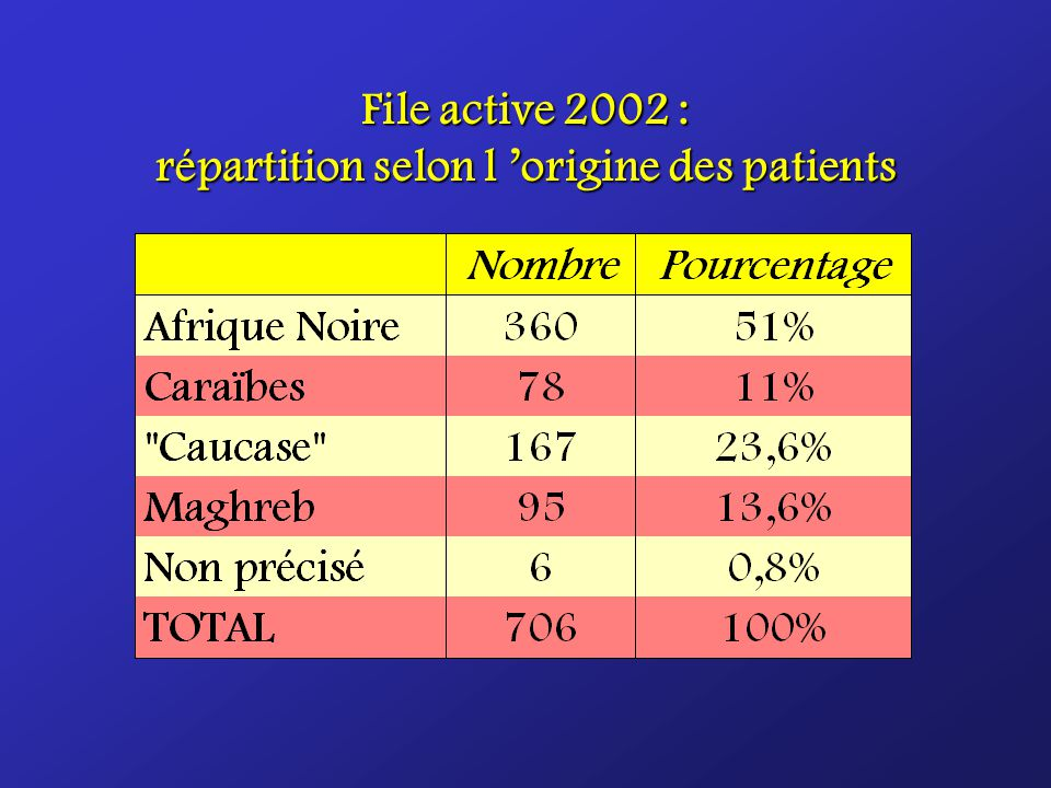 File active 2002 : répartition selon l 'origine des patients