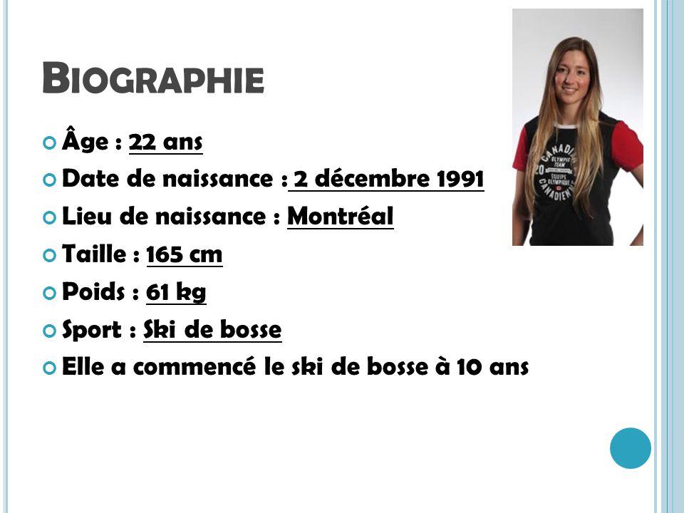 Biographie Âge : 22 ans Date de naissance : 2 décembre 1991