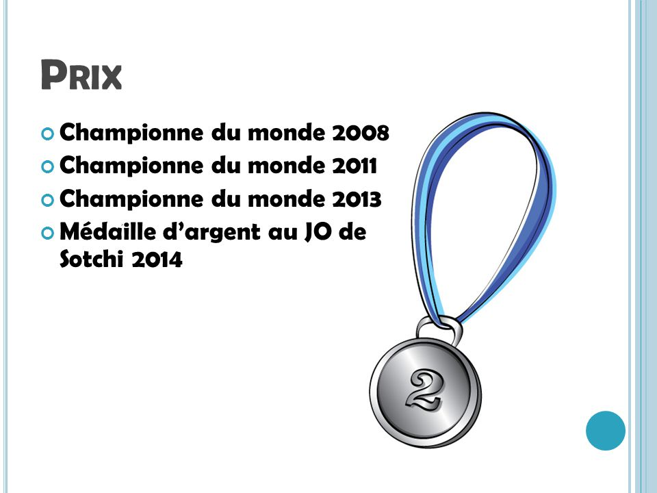Prix Championne du monde 2008 Championne du monde 2011