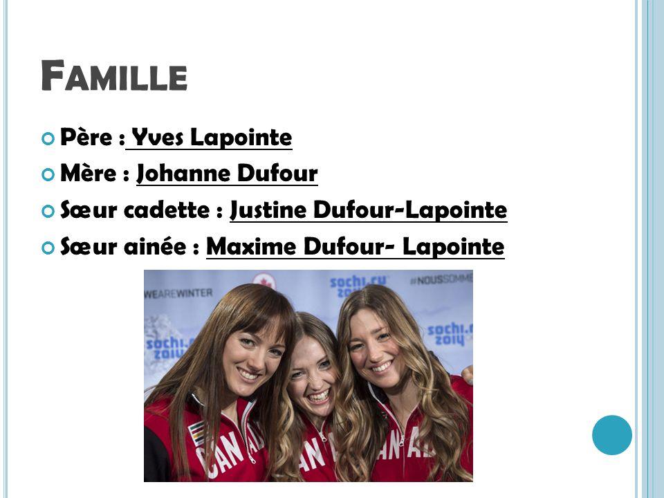 Famille Père : Yves Lapointe Mère : Johanne Dufour