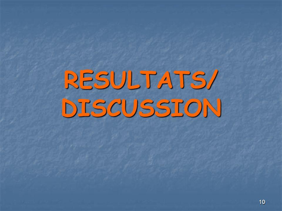 RESULTATS/ DISCUSSION