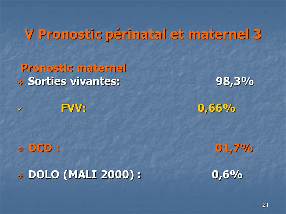 V Pronostic périnatal et maternel 3