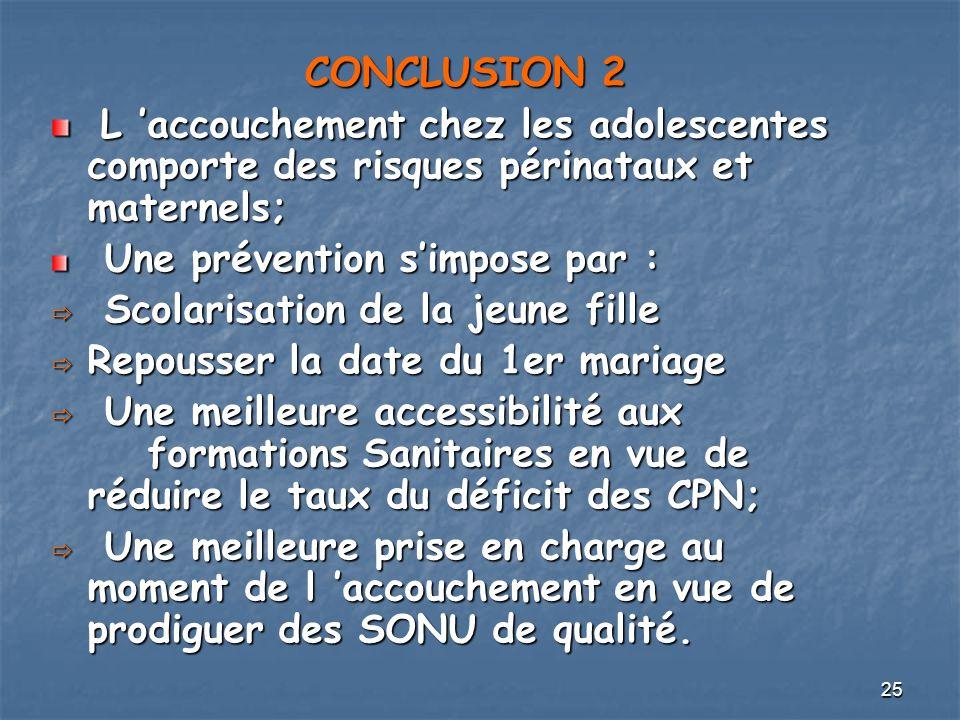 CONCLUSION 2 L 'accouchement chez les adolescentes comporte des risques périnataux et maternels; Une prévention s'impose par :