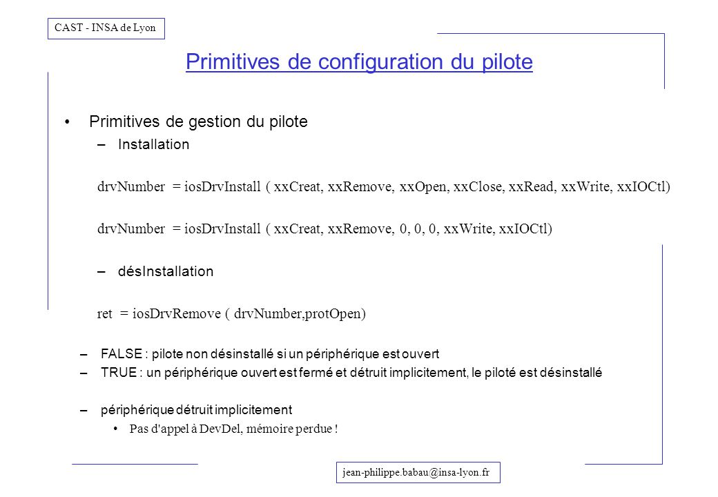 Primitives de configuration du pilote