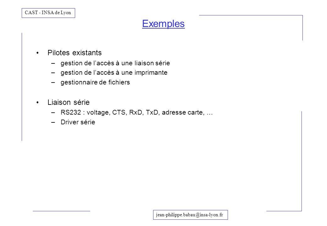 Exemples Pilotes existants Liaison série