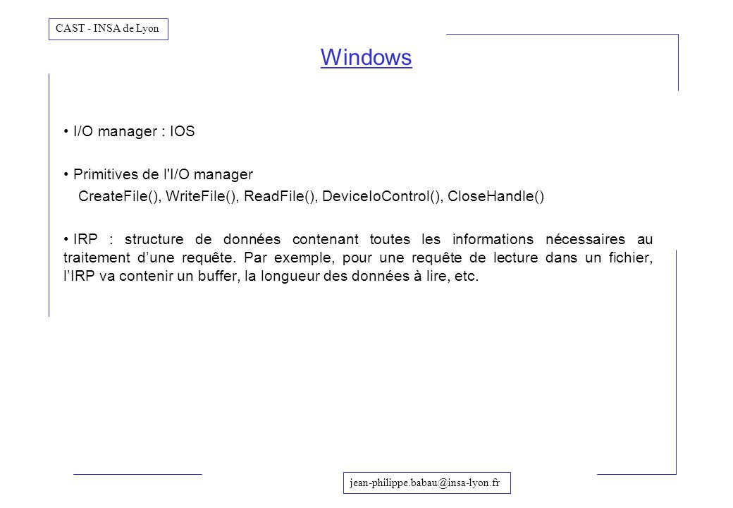 Windows I/O manager : IOS Primitives de l I/O manager