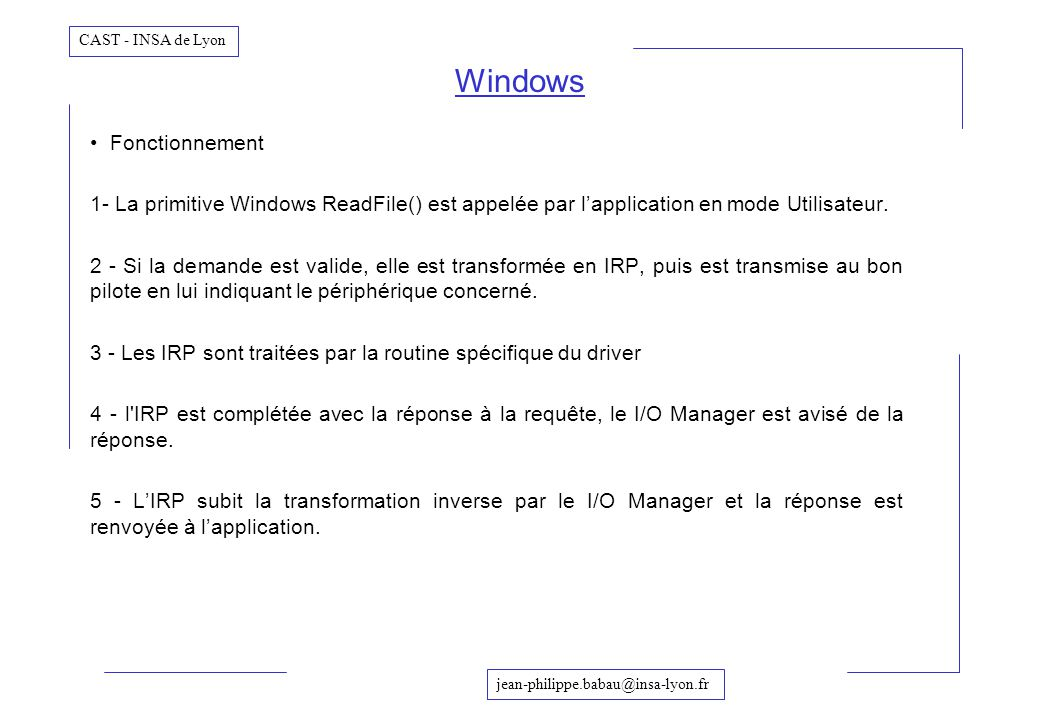 Windows Fonctionnement