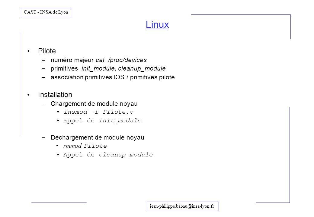 Linux Pilote Installation numéro majeur cat /proc/devices