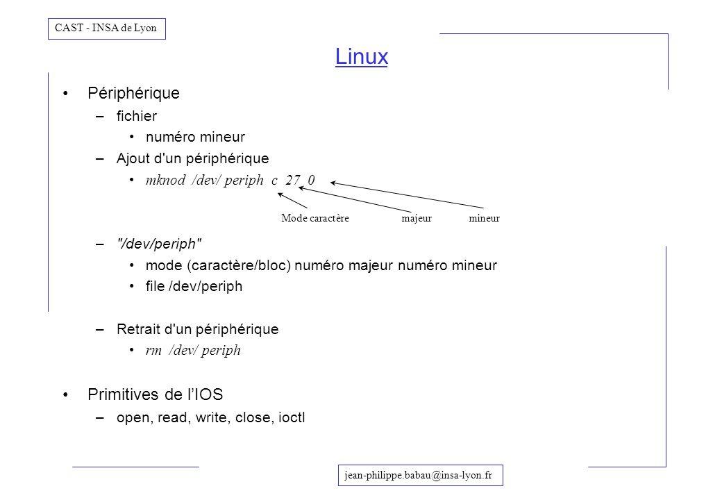 Linux Périphérique Primitives de l'IOS fichier numéro mineur