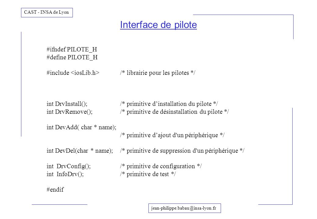 Interface de pilote #ifndef PILOTE_H #define PILOTE_H