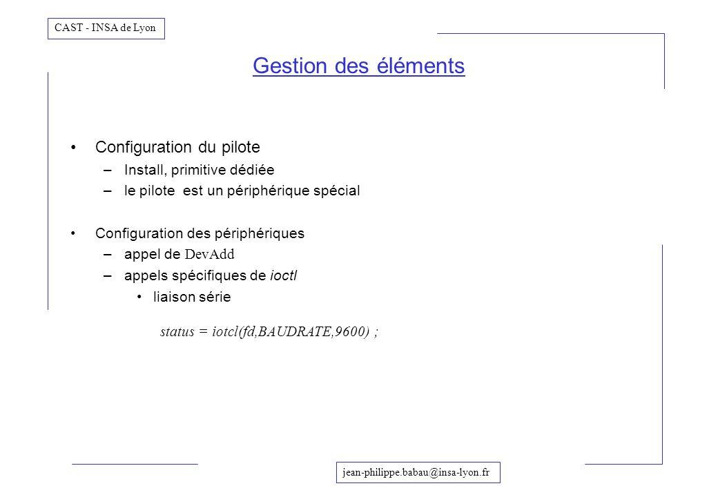 Gestion des éléments Configuration du pilote Install, primitive dédiée