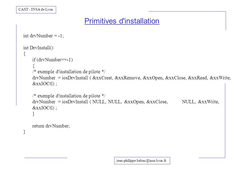 Primitives d installation